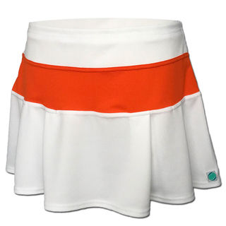 Box Pleat Skirt - White with Orange Contrast
