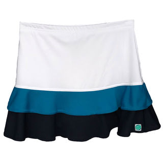 Frilled Skirt - White with Turquoise and Navy Tiers